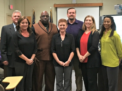 Superintendent Lemoine honored the principals for the increase in school performance scores at the Board meeting held on Thursday, November 16, 2017. Pictured left to right: Superintendent Kevin Lemoine, Ms. Kim Canezaro (Valverda), Mr. Myron Brown (Upper Pointe Coupee), Ms. Stacey Gueho (Livonia High), Mr. Rob Howle (STEM), Ms. Marcie Cazayoux, and Ms. Natalie Aguillard (Rosenwald).