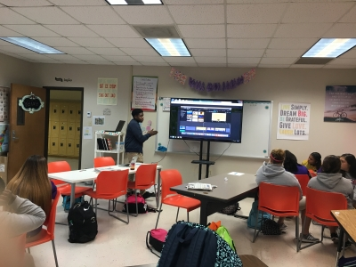 LHS Student Speaks to SMA's Media Production Class